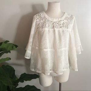 Anthropologie White Lace Blouse size Small